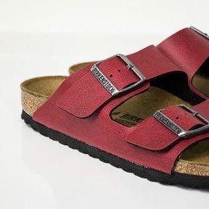 NEW BIRKENSTOCK ARIZONA Dark Red Leather Sandals